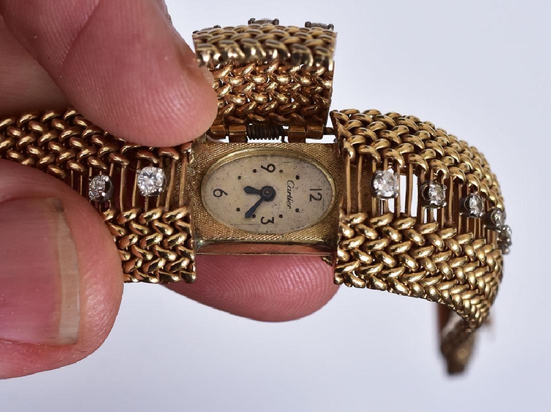 Cartier 14k Gold Diamond Ladies Wrist Watch - 3