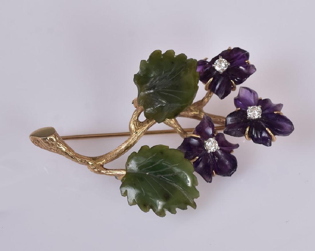 14k Gold Leaf Brooch