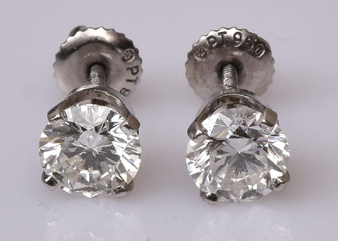 Platinum Diamond Stud Earrings - 2