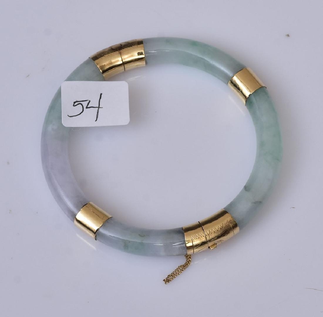 14k Gold Jade Bangle