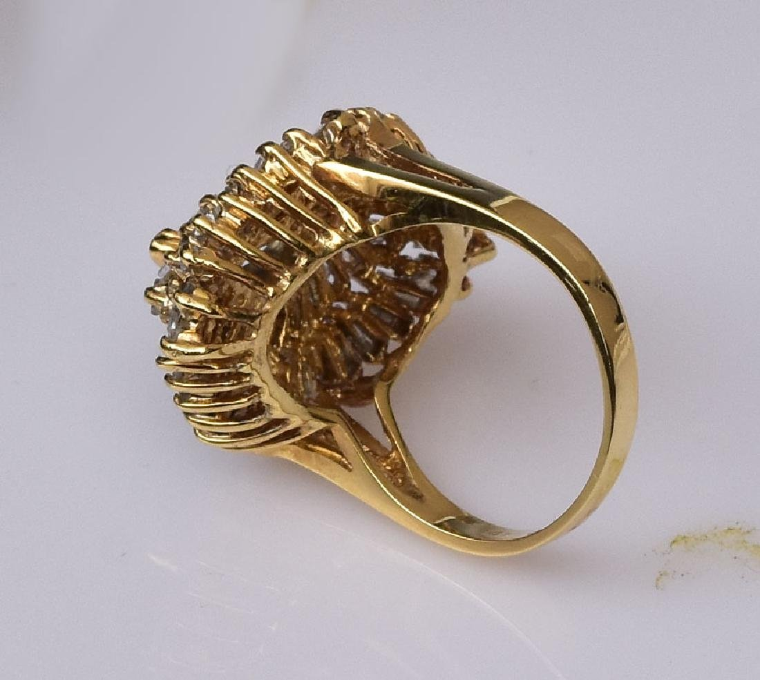 14k Gold Diamond Cocktail Ring - 2