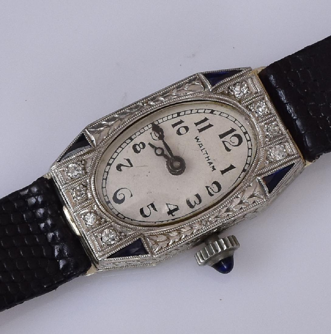 14k Gold Waltham Diamond Ladies Wrist Watch - 2