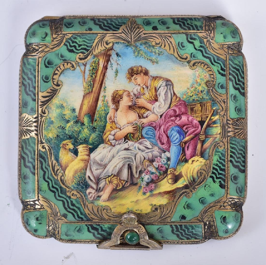Enameled Silver Compact