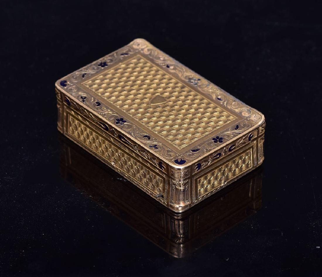 Swiss Musical Enameled 18k Gold Snuff Box