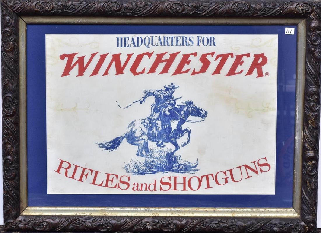 Framed Winchester Advertising Silk