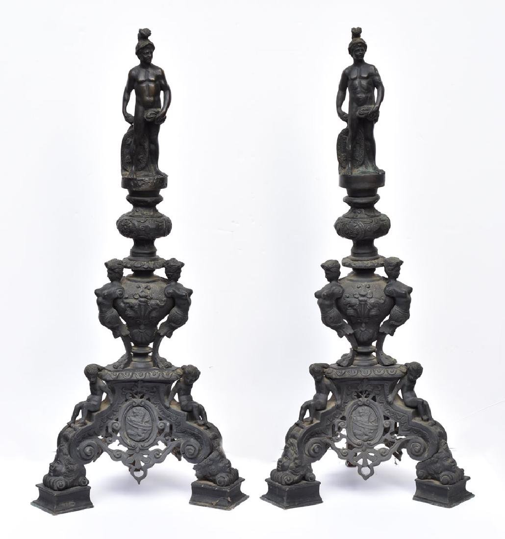 Monumental Pair of Bronze Andirons