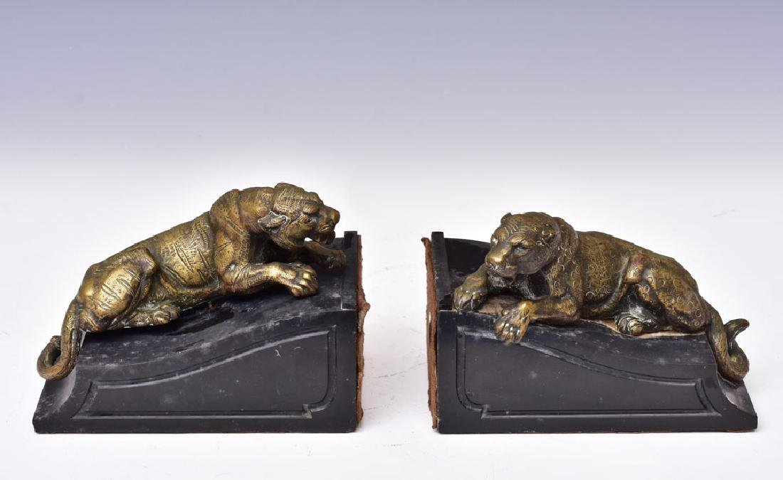 Pair French Bronze and Marble Bookends