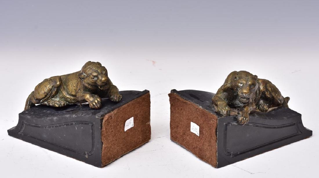 Pair French Bronze and Marble Bookends - 2