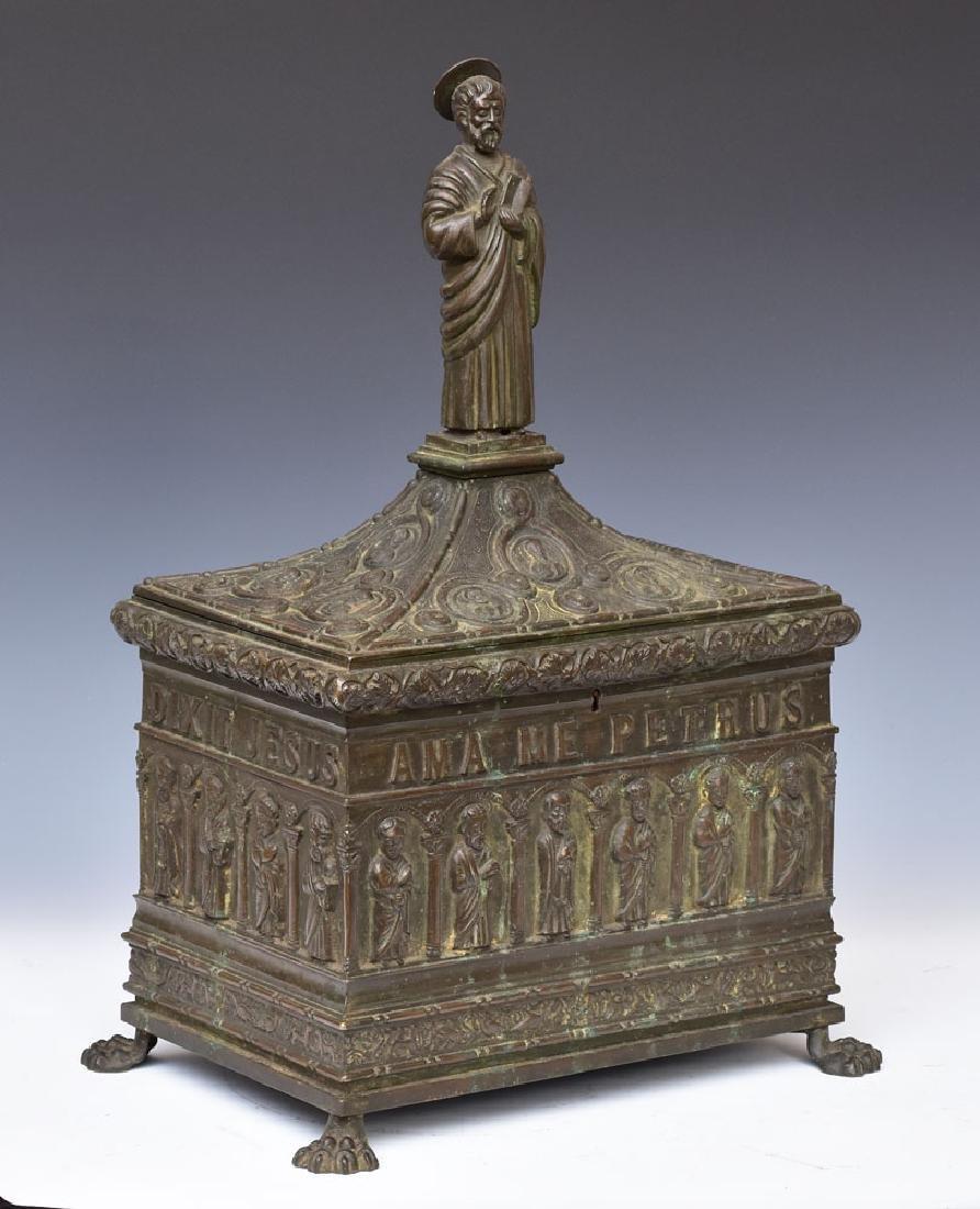 Large Gothic Revival Bronze Valuables Box
