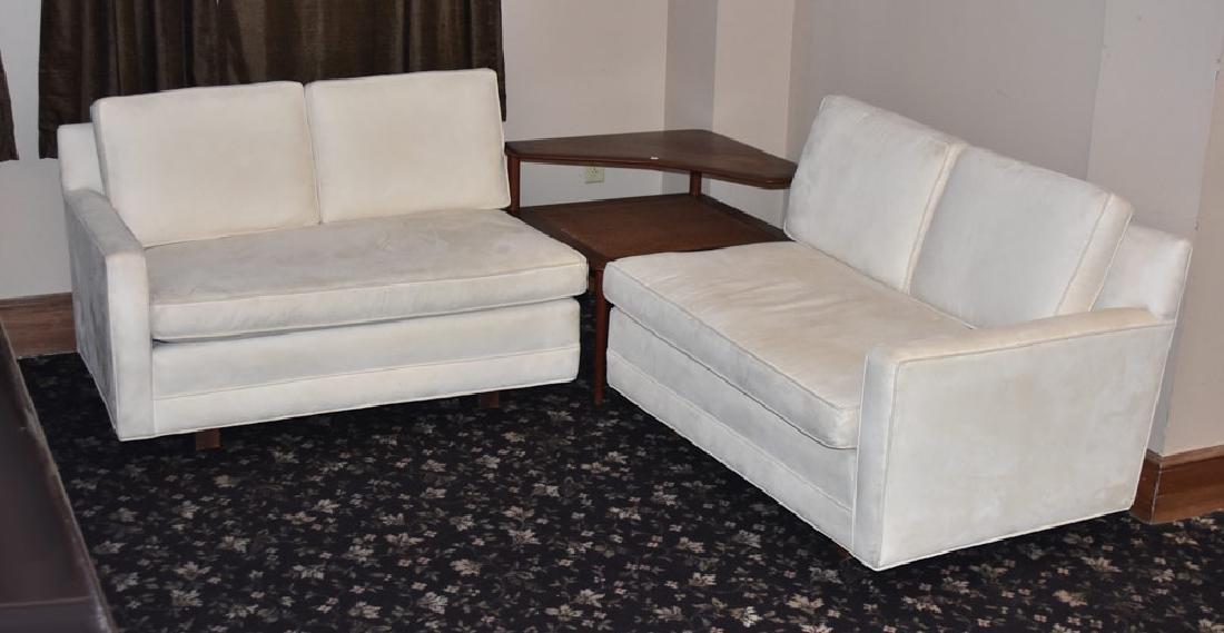Danish Modern Suede Corner Sofa