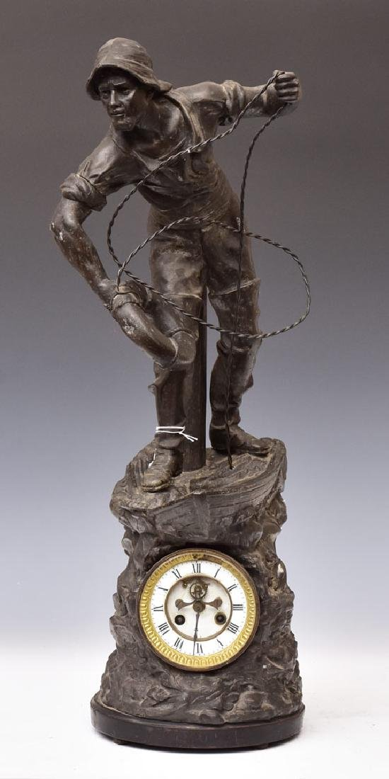 French Figural Fisherman Clock