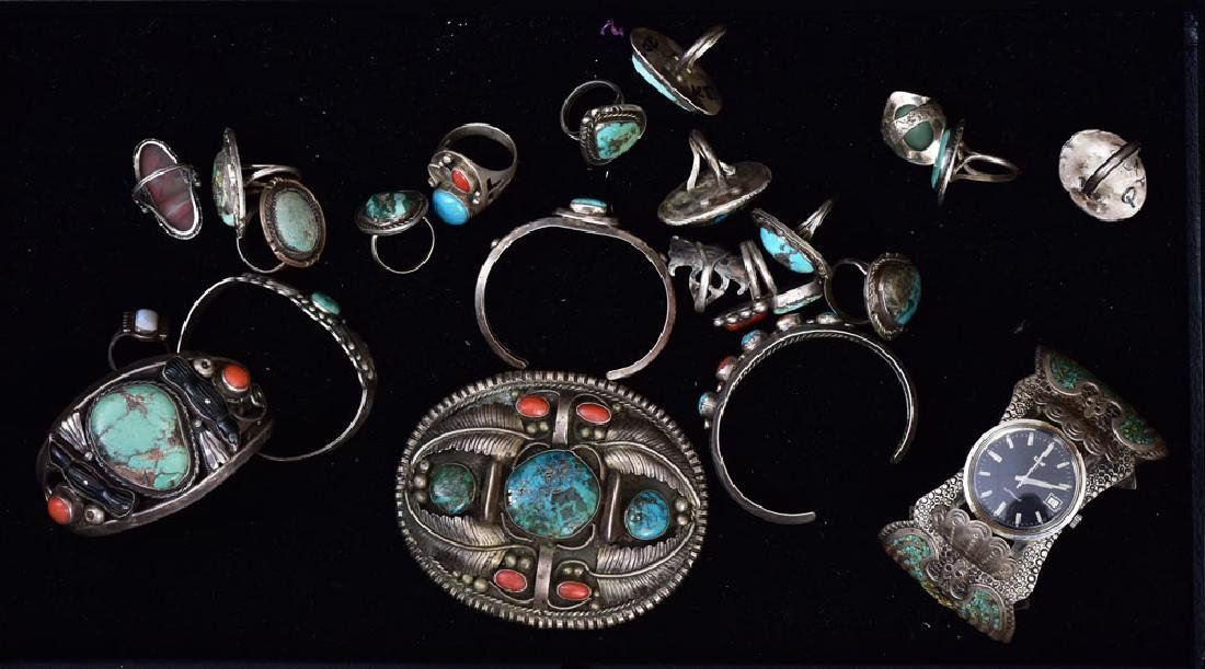 Group of Silver Native American Jewelry