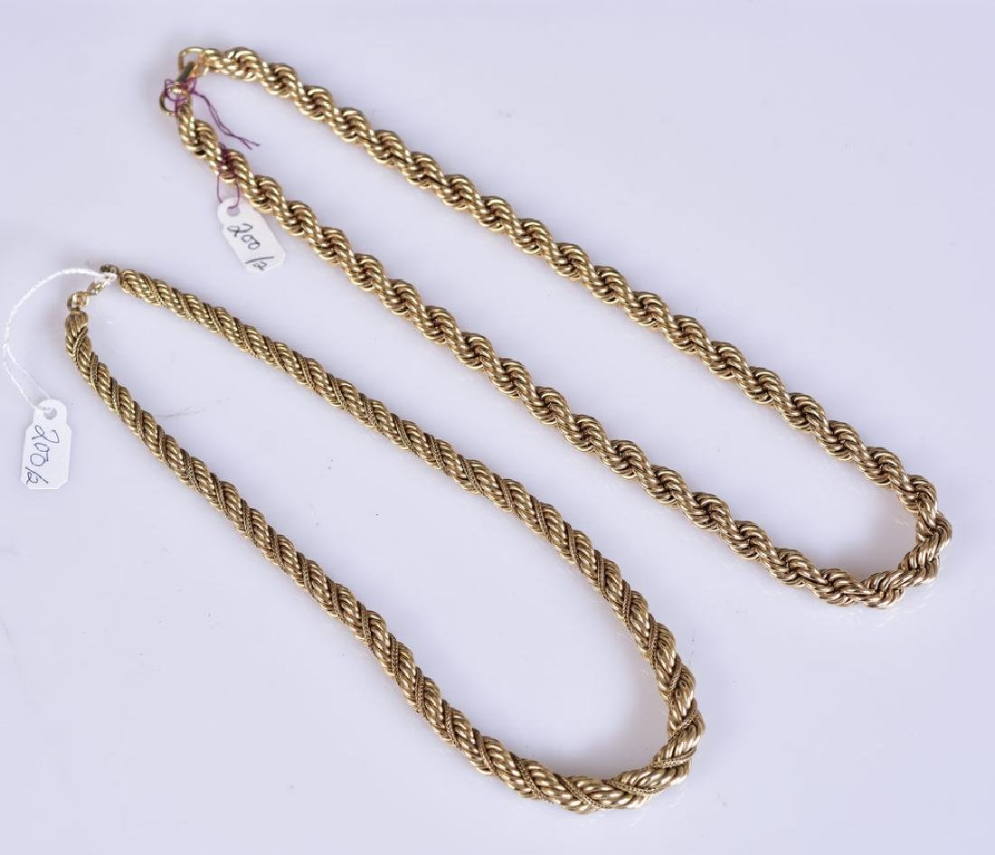 "Two 14k Gold ""Rope"" Necklaces"