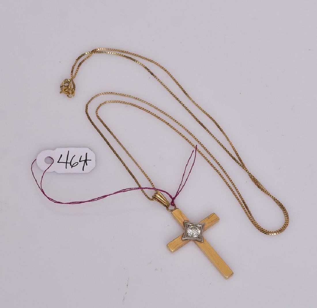 14k Gold Diamond Cross