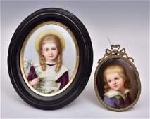 Two Porcelain Portrait Miniatures