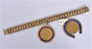 14k Gold Bracelet with Two Gold Coins