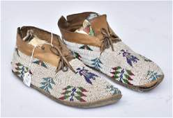 Pair of Plains Indian Beaded Moccasins