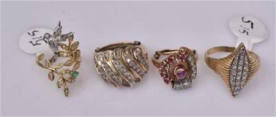 Four 14k Gold Rings
