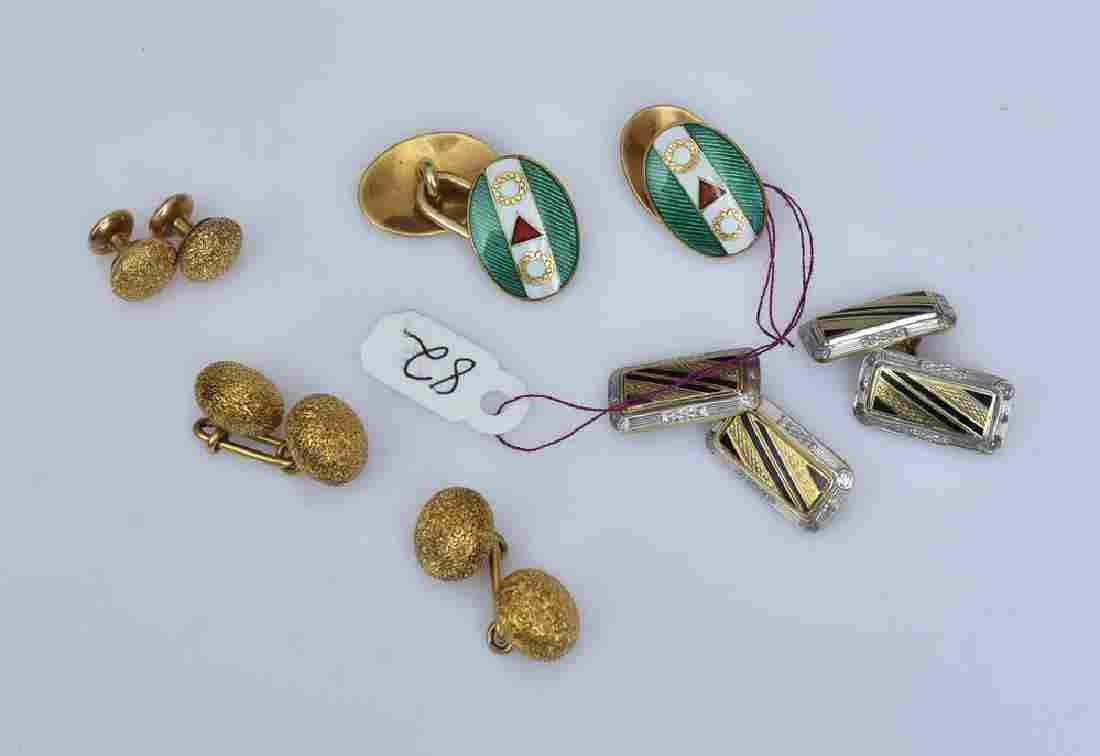 Gent's Gold Cuff Links and Tie Tacks