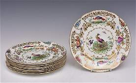 Set of Eight Booths Chelsea Birds Plates
