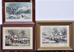 Group of Three Currier  Ives Lithographs
