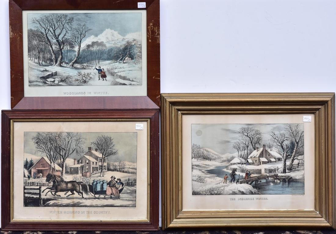 Group of Three Currier & Ives Lithographs