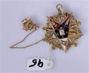 14k Gold Enameled Masonic Medal