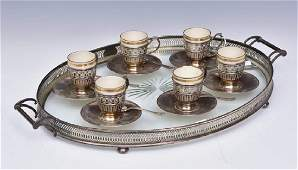 Tiffany  Co Sterling Silver and Glass Tray