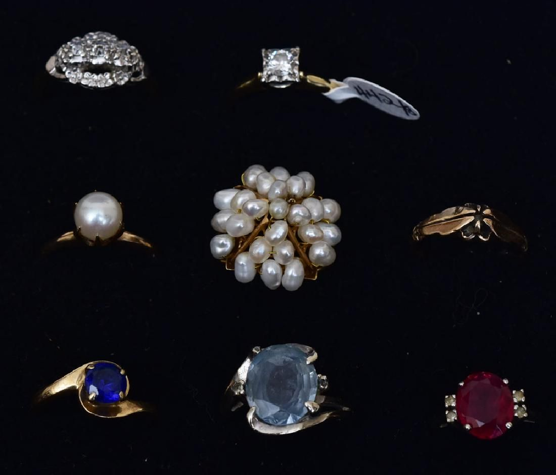 Group of Eight Gold Rings