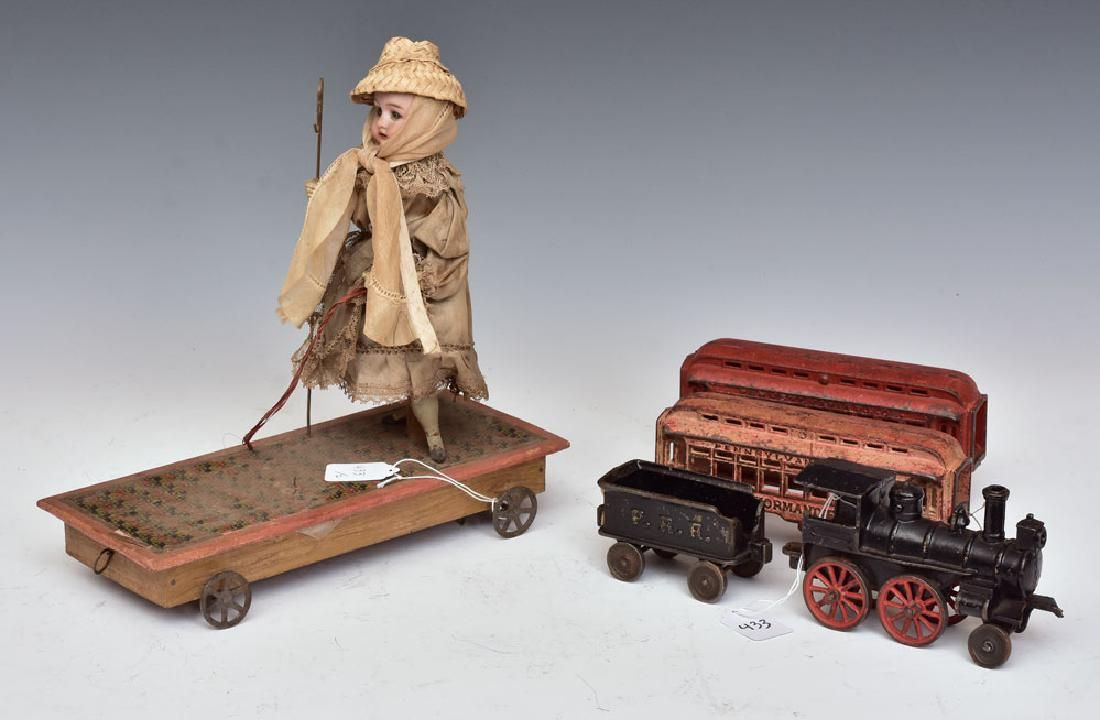 Victorian Pull Toy & Cast Iron Toy Train