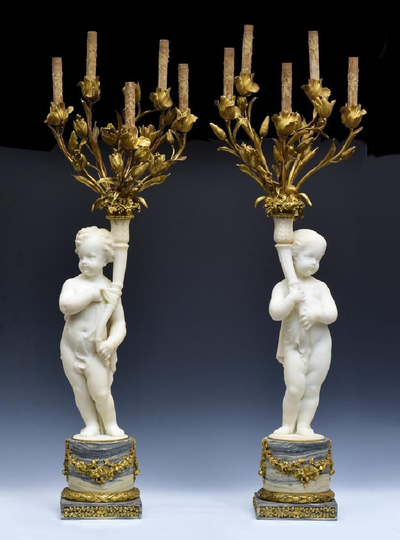 Pair of French Empire Figural Candelabra