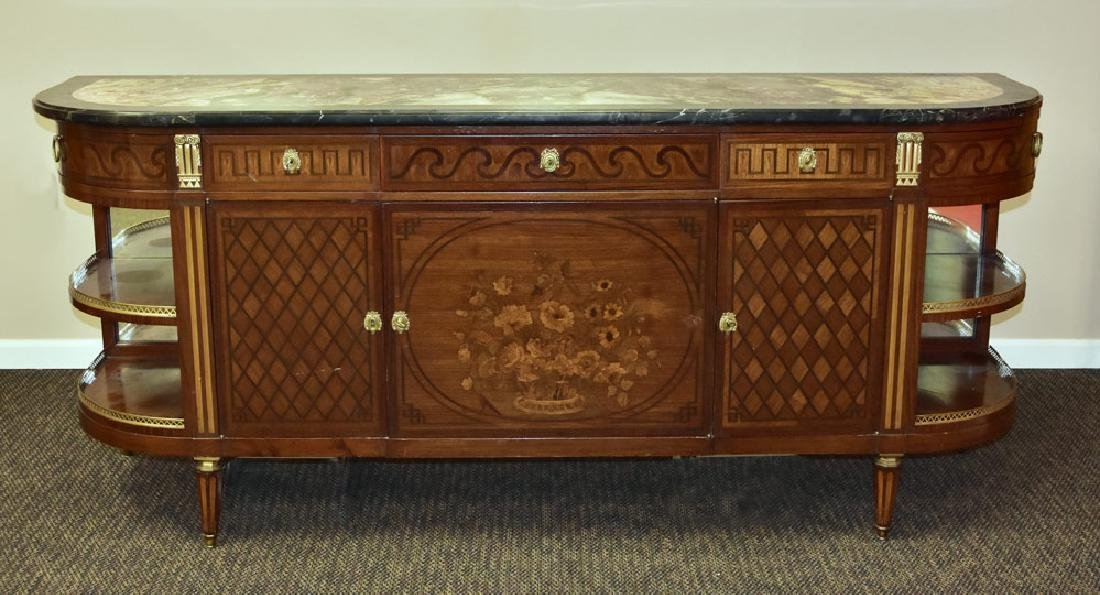 French Marble Top Marquetry Buffet