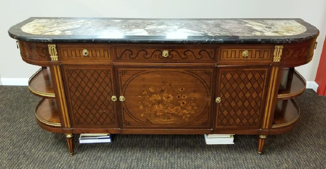 French Marble Top Marquetry Buffet - 2