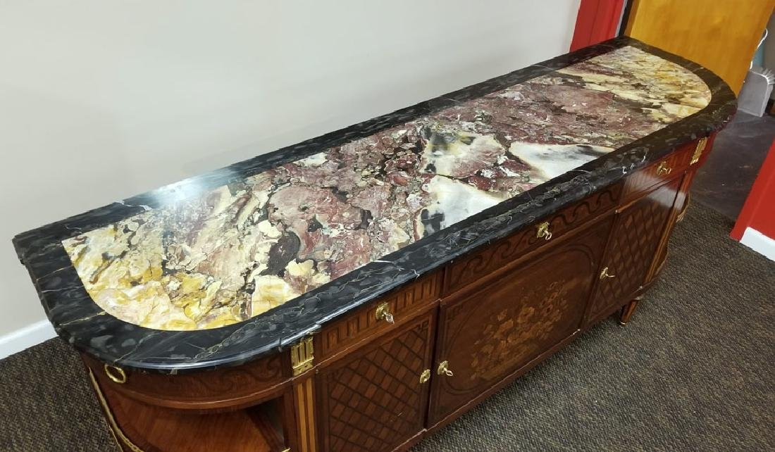 French Marble Top Marquetry Buffet - 3