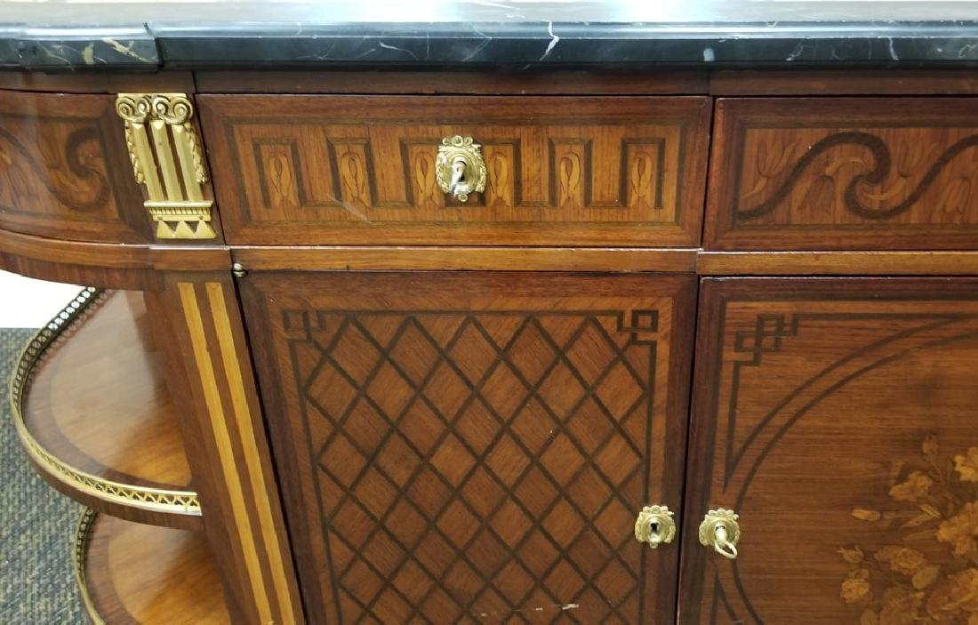 French Marble Top Marquetry Buffet - 4
