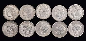 Ten American Silver Dollars
