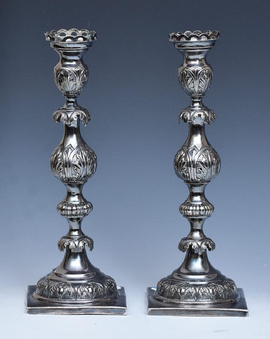 Pair of Russian Silver Candlesticks