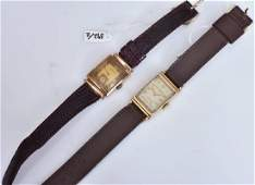 Two 14k Gold Gents Wrist Watches