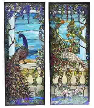 Pair of Tiffany Style Leaded Glass Windows