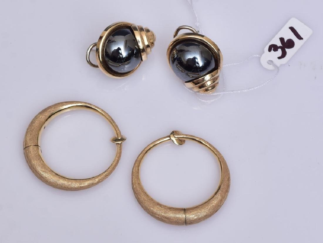 Two Pairs 14k Gold Earrings