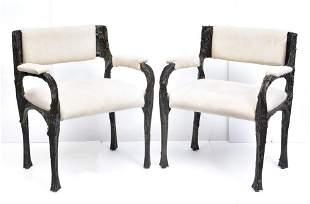 Paul Evans Bronze Stalagmite Dining Chairs (6)