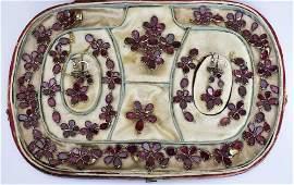 Georgian English 15k Gold Garnet Necklace Suite