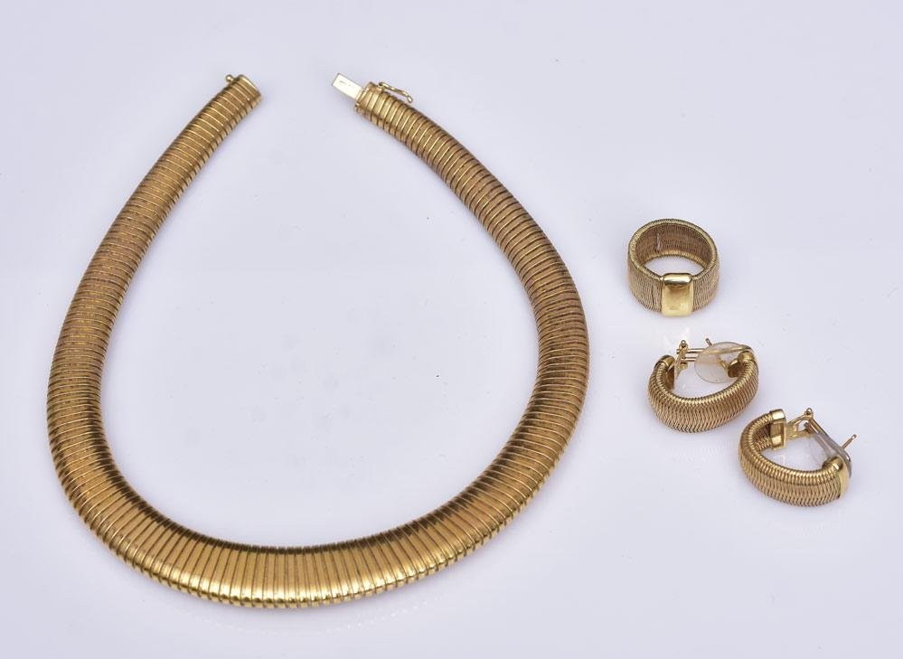 18k Gold Necklace, Ring and Earrings