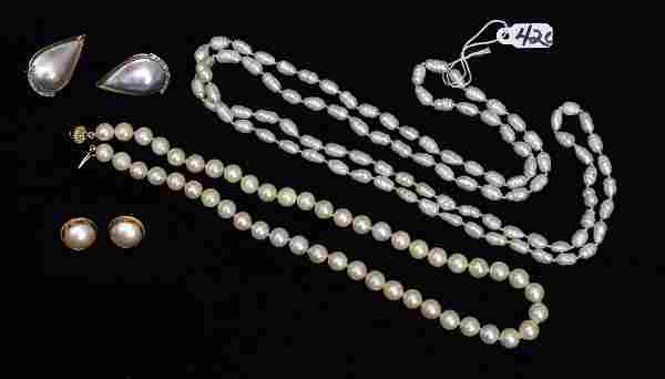 Group of 14k Gold Pearl Jewelry