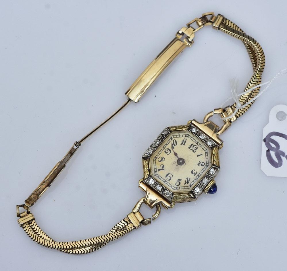 Valant 14k Gold Art Deco Ladies Wrist Watch