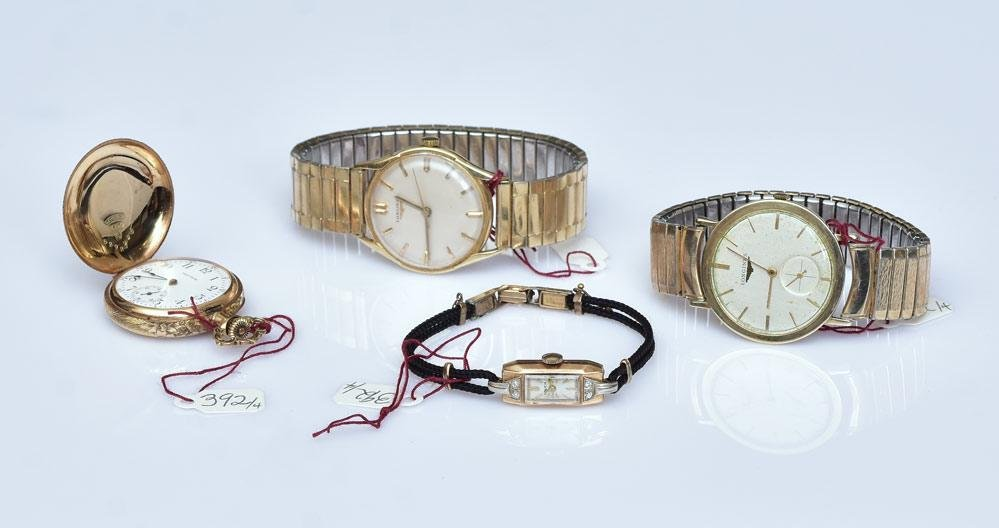 Four 14k Gold Watches