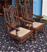 Set of Two Victorian Carved Oak Arm Chairs