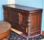 Victorian Carved Oak Sideboard