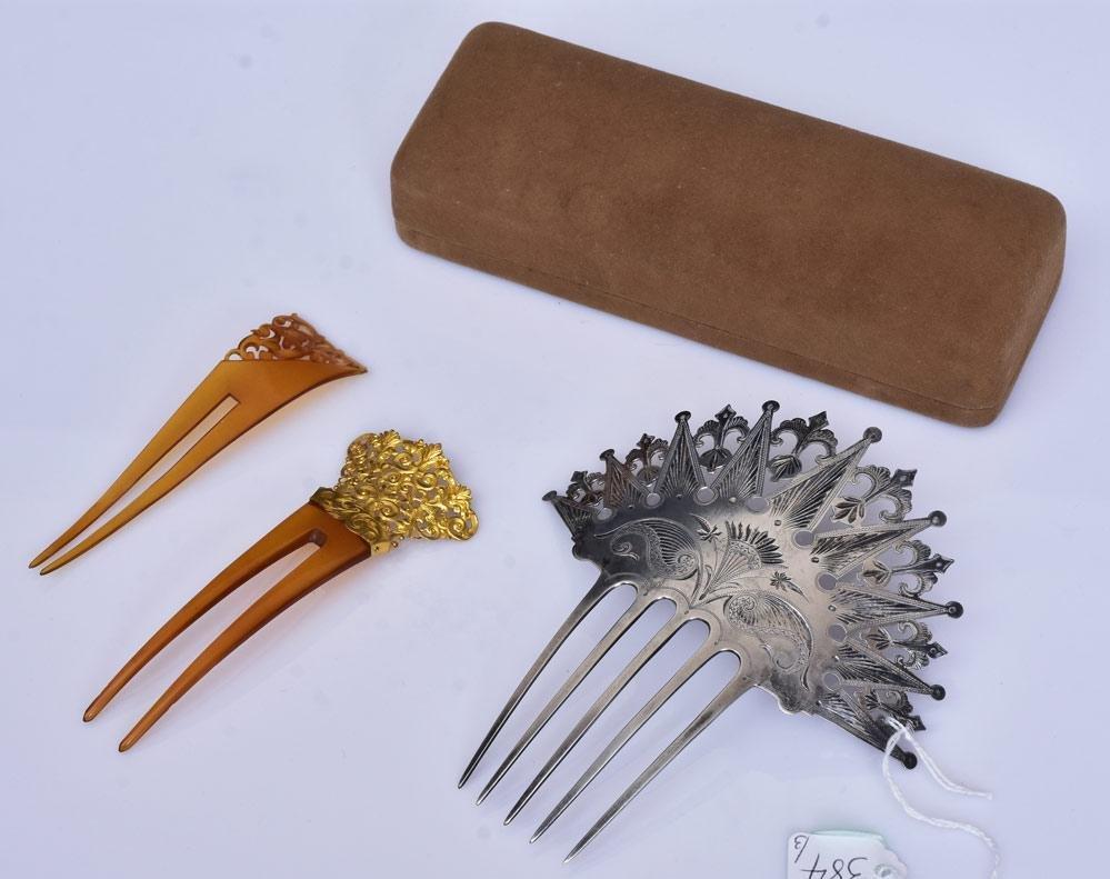 Three Victorian Hair Combs