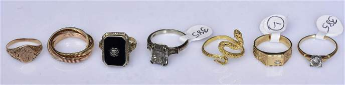 Group of 10K and 14k Gold Rings
